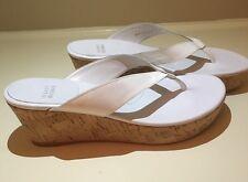 Preowned Authentic Stuart Weitzman White Wedge Flip Flop Sandals 9