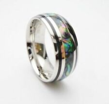 New Hawaiian 8mm Abalone Shell Stainless Steel Wedding Engagement Band 37101-6
