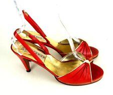 Kurt Geiger Slingback Heels 8C Red/Gold Leather Open Toe Pumps Formal #1008