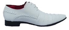 Mens White Prato Z3 Leather Lined Patent Formal Wedding Occasion Shoes  UK 6-12