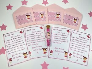 Tooth Fairy Letters, Personalised, Pink, With Fairy Dust, Any Name