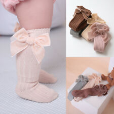 Kids Baby Girl Toddler Knee High Long Socks Bow Cotton Casual Stockings Warm