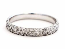 0.58ct Pave Round Diamond 14K White Gold Stackable Wedding Band Ring - Size 6.5