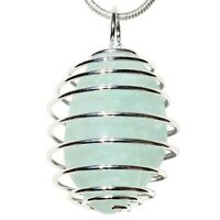 "CHARGED Aquamarine Crystal Perfect Pendant™ 20"" Silver Chain + Selenite Heart"