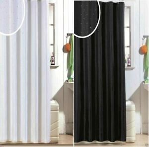 BLUE CANYON DIAMANTE LOOK GLITTER POLYESTER SHOWER CURTAIN WITH HOOKS