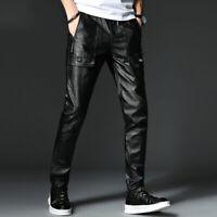 Men's CasuaL Skinny Leather Pants Outdoor Motorcycle Biker Trousers Slim Black