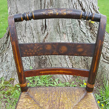 EARLY 19th C. SHERATON RUSH-SEAT Carved & FANCY-Stenciled Side Chair- We Deliver