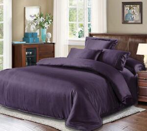 Seamless 3pc 22mm 100% Mulberry Pure Silk Duvet Quilt Cover Pillow Case Set