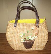 "Esprit Straw Purse Handbag With Flowers 6.5"" x 9"""