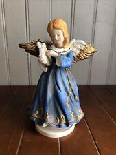 "Vintage Girl Christmas Angel With Harp Music Box Plays ""Silent Night"""