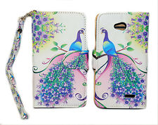 Pink & Purple Peacock Design Wallet Leather Case for LG Optimus L70 MS323