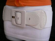 HOT WOMEN HIP WAISTBAND WAIST STRETCH BAND FAUX LEATHER WHITE FABRIC BELT M L XL
