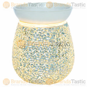 1 X AIRPURE SILVER MOSAIC ELECTRIC WAX MELTER HOLDER BURNER WITH BACKLIGHT