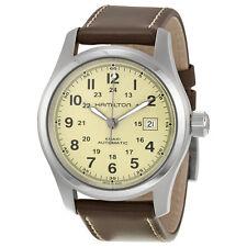 Hamilton Khaki Field Beige Dial Brown Leather Automatic Mens Watch H70555523