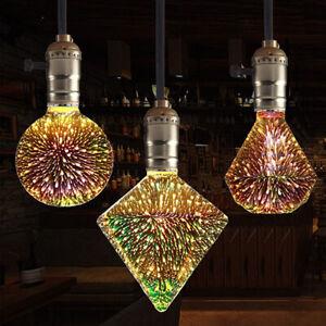 LED Alluminum Light Edison Bulb Fireworks 3D Colourful Vintage Glass E27 Plated