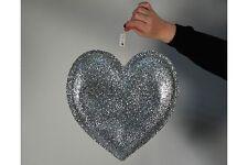 Pack of 3-D Silver Glitter Hearts Decoration-Wedding Valentine's Decoration