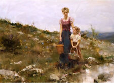 Oil painting young mother little girl holding basket by river view Hand painted