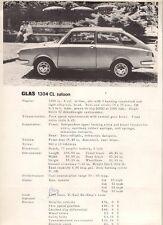 Glas 1304 CL Saloon 1966-67 UK Market Leaflet Sales Brochure