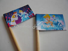 20 CUPCAKE FLAGS/TOPPERS - CINDERELLA CHILDRENS BIRTHDAY PARTY