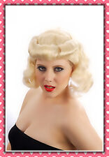40's 50's Womens Blonde Pin Up Girl Wartime Wig Accessory Fancy Dress Costume