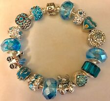 ❤️Authentic PANDORA BRACELET ~ It's A Boy! 👶 Blue European Charms Beads & Box❤️