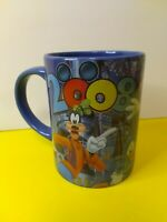 Disney Mickey & Minnie Mouse Goofy Donald Duck Jerry Leigh Blue Coffee Mug 2008