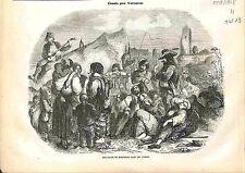 Camp de Bohémiens Gitans Tsiganes Roms Romanichels Kalés les Vosges GRAVURE 1848
