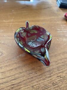 Vintage Murano Leaf Shaped Bowl Multi Color Murrines and Canes Gold Flecks