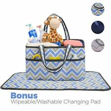 Diaper Caddy Organizer with Large Storage Space. Blue and Grey Chevron, Washable