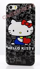 for iphone 5 5s  cute kitten case cover black white with red bow + film