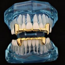 Fang Grillz Set 14k Gold Plated Half Teeth Dracula Vampire Fangs Slim K9 Grills
