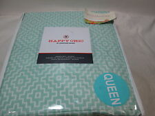 New Happy Chic by Jonathan Adler AZTEC GEO Queen Sheet Set ~ Mint and White NIP