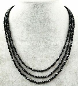 3 Rows Natural 2/3mm Faceted Black Spinel Round Gemstone Beads Necklace 17-19''