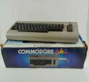 Commodore 64 Computer Silver Label - Cleaned. Power supply and Box (Not Tested)