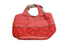 LARGE PINK EMBROIDERED SATCHEL HANDCRAFTED IN VIETNAM