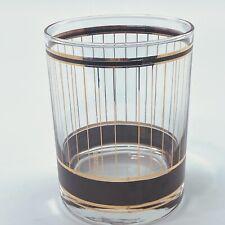 Culver Usa Devon Gold Stripes Black Trim Bar Glass Vintage Rocks Mcm