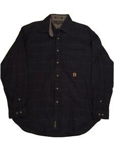 Men's Large Tommy Hilfiger Button-Up Long Sleeve Purple Lion Crest Striped Shirt
