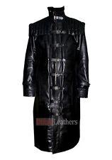 Men's Van Helsing Hugh Jackman Black Faux Leather Trench Coat Halloween Costume