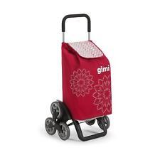 Gimi Tris Floreal Carrello Portaspesa Porta Spesa 3+3 Ruote Trolley Scale Rosso