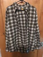 Bass Pro Shops Men's Size L Flannel Shirt Green Plaid 100% Cotton Casual