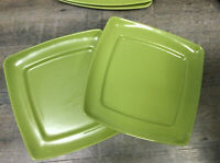 "Set of 2 Dinner Plates 11 1/4"" Stoneware Lime Buffalo china by Oneida"