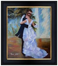 Framed, Renoir Dance in the City Repro, Hand Painted Oil Painting 20x24in