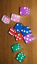 DADI GIOCO DA TAVOLO in plastica colorati 15mm/dado da gioco 10pz
