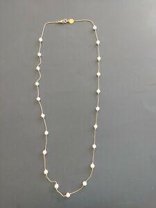 "Anne Klein long gold tone necklace faux pearls 38"" - AK logo on chain"