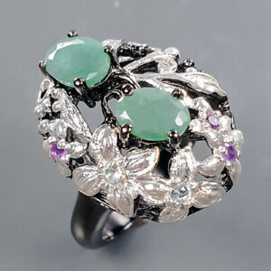Handmade Ring Emerald Ring Silver 925 Sterling  Size 6 /R178607