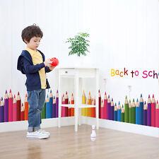 Removable Back To School Pencil Mural DIY Room Decor PVC word Art Wall Sticker