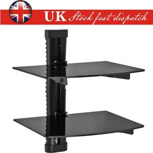 2 Tiers Wall Mount Floating Media Shelves Shelf Rack Stand For DVD TV SKY BOX UK