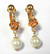 PRETTY LITTLE GOLD-PLATED ROSE & WHITE GLASS PEARL CLIP ON EARRINGS - (Or Hooks)
