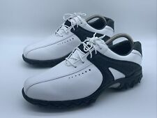 New listing FOOTJOY CONTOUR SERIES Mens Size 9M Black On White Leather SoftSpike Golf Shoes