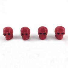 4 Pcs/set Red Skull Tyre Tire Wheel Air Valve Stem Caps Universal Fit